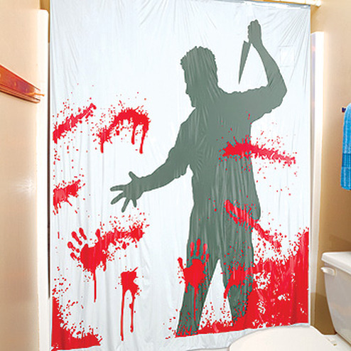 pileofnearmisses: Psycho Shower Curtain with a little speaker that screams when you get in the shower
