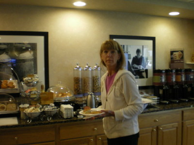 Mom at the continental breakfast.