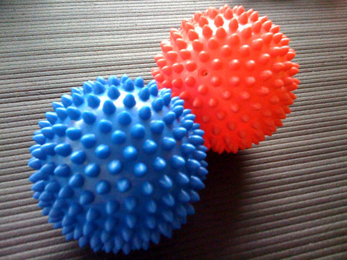 REVIEWS OF MY SON'S TOYS: Spiky Death Balls Despite appearances the Spiky Death Balls are not really dangerous for an infant. The stubby spikes aren't sharp; they just provide a pleasing, very grippable textured surface for small hands and fingers. However, they feel somehow lethal in an adult hand, and I'm betting if I really whanged one at somebody it would leave a nasty welt. Bite It? Apparently not. My son has yet to try and put these in or near his mouth. Probably a little intimidating at this stage.