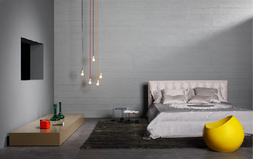 sweethomestyle:  lorealloves: via  LOVE the hanging bare bulbs AND the funky yellow stool.