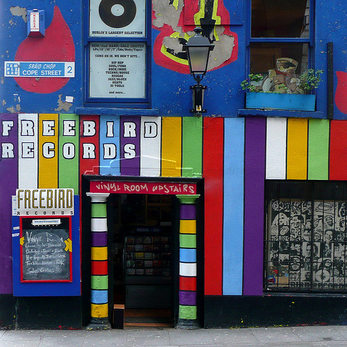 Freebird Records in Temple Bar, Dublin.  I've become fascinated with square format photography. After a year of almost religious refusal to alter my photos, I've decided to give it a shot. This was cropped to a square, and the contrast was tweaked just a little bit.