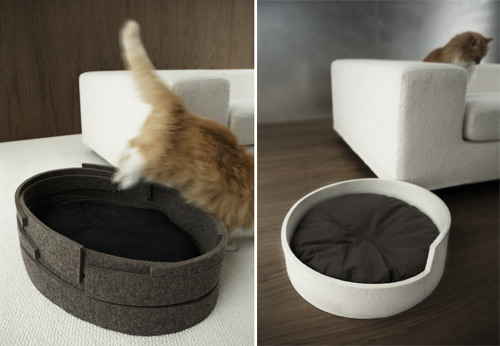 Lovely cat beds by Vurv and Kilowatt.  My kitten would love these.