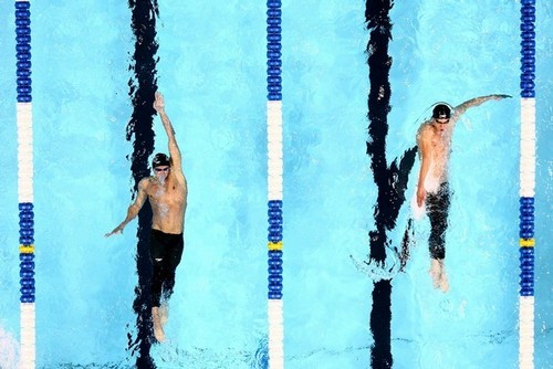 hotolympians:  Ryan Lochte and Michael Phelps; USA, Swimming