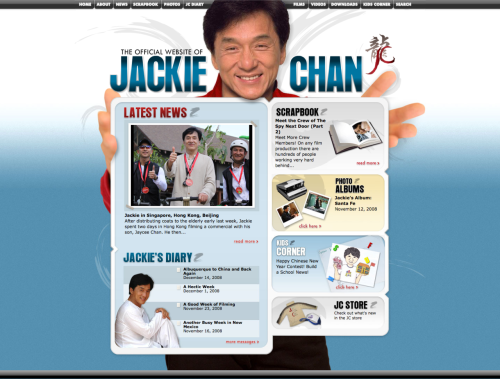 The Official Website of Jackie Chan [via scottmc]