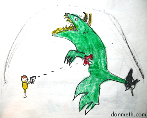 "HOW TO DEFEAT A HORAG MONSTER:Shoot it with a gun. drawn in 3rd grade Speaking of monsters… Our rock video ""Monster Manual"" was featured on the front page of Youtube yesterday. And the Dungeons and Dragons geeks approved."