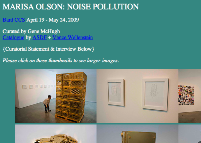 We made a newsprint catalogue for Marisa Olson's show at Bard CCS, Noise Pollution. Download the PDF.