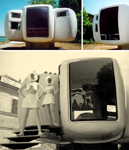 Jean Maneval (1923-1986) : The 'Six-Shell' Bubble. The architect, urban designer and theorist, Jean Maneval developed in 1964 a dwelling unit made entirely of synthetic materials. Produced industrially and commercialized in series in 1968, it was part of the program to equip an experimental vacation center in the Pyrenean mountains. Each living unit (6 shells) was easily transported by truck. The prefabricated shells were made of reinforced polyester insulated with polyurethane foam in three colour-versions: white, green and brown. The bubble blended 'perfectly' into the landscape. Production ended in 1970 and only about 30 were ever made. (via)More here.