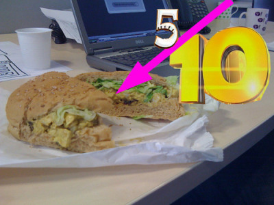 coronation chicken with lettuce on a brown bap. I had high hopes for this sandwich having kept an eye on the filling for several days but when the moment arrived it was rather disappointing, hence 5 out of 10