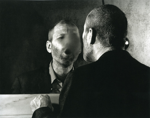 The Mark on the Mirror Breathing Makes / a b&w fotograf by Deiter Appelt, 1977