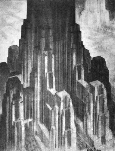 from The Metropolis of Tomorrow by Hugh Ferriss  via vintagefuture: Retro Future: Glorious Urbanism » DarkRoastedBlend