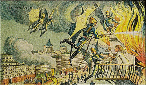 Flying Firemen, French print from 1910 from paleo-future