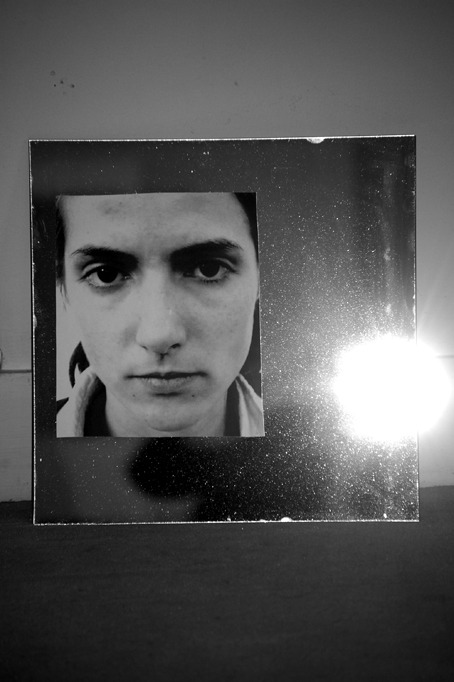 Sabrina (March 4, 2009, 3:14 PM), Laser print on mirror, 30 x 30 cm, 2009