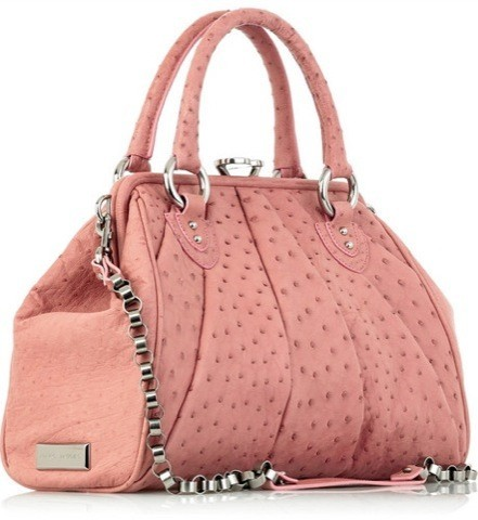 Francesca says: the Marc Jacobs Stam Ostrich Tote is an amazing bag.  I love the Stam line, and this is an ultra luxxx model.  Ostrich exterior, lined with leather inside, in a beautiful pale pink.  Cost, $5,500.