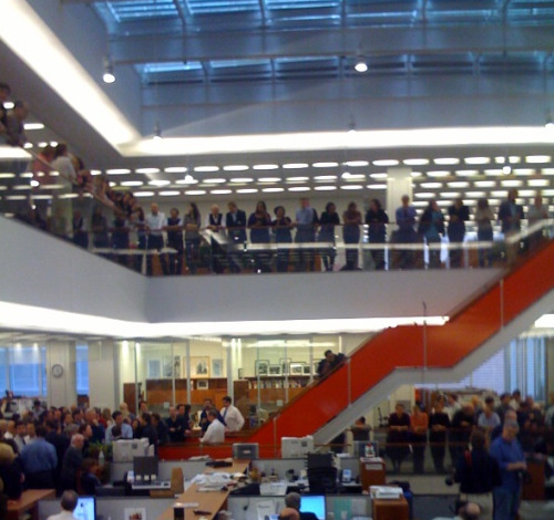 saucy:  The newsroom, right now, during Pulitzer annoucements. 8 nominations across 9 desks.  5 wins.  While you were blogging about blogging, the New York Times was waiting and winning Pulitzers. While you were blogging about blogging.