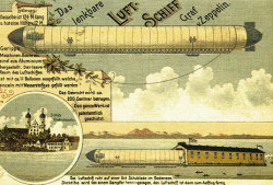 "xplanes:  ""Postcard reproduction of an old print showing the Graf Zeppelin airship. The Zeppelin aircraft company was (and still is) located in Friedrichshafen, on the Bodensee (Lake Constance)."""