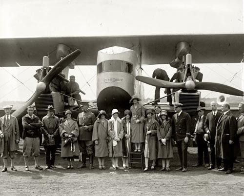 "May 8, 1925. Washington, D.C. "" 'Yorktown.' Christening of Sikorsky plane.""  ""This aircraft is the S-29A (The A stands for first Sikorsky model built in America). It was eventually sold to famed stunt pilot Roscoe Turner, who in turn sold it to Howard Hughes. Hughes had it disguised as a WWI German Gotha bomber, and it was crashed (spun in) during the filming of Hells Angels."""