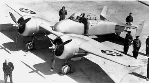 Grumman XF5F-1 'Skyrocket' - prototype twin-engine shipboard fighter interceptor, early 1940s
