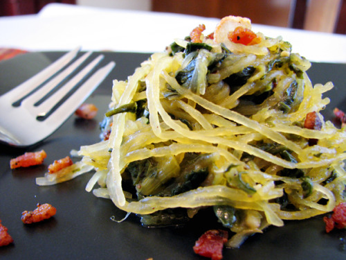 Spaghetti Squash with Crispy Bacon and Turnip Greens Click-through for recipe! from cookingbytheseatofmypants via foodgawker