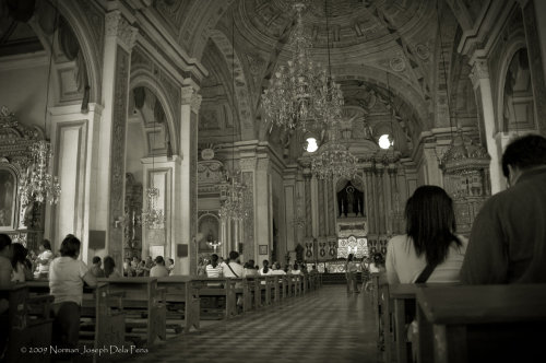 The interior of the San Agustín Church in Intramuros, with magnificent trompe l'oeil mural on its ceiling and walls