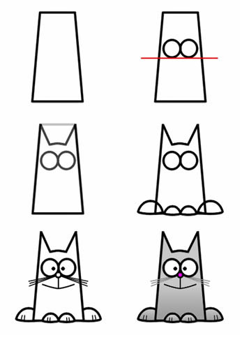 Рисунки карандашом.  Схемы рисунков.  Для детей.  В.