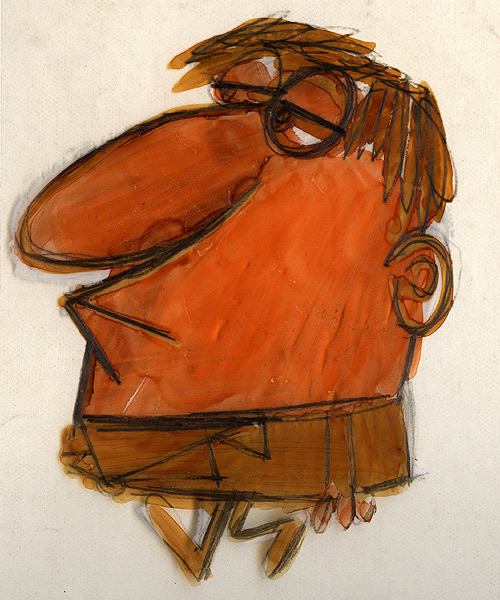 Man drawn onto cel Artist: Len Glasser (ca. late-1950s)