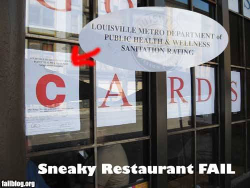 "Go Cards! The health department's letter rating signs are a familiar sight to diners in my hometown of Louisville, where this picture was snapped. My friend Katie Beach and brother Nate and I used to favor the blue ""B"" rating as a good sign that a given cheap restaurant was gritty and authentic enough to earn our late-night, cash-strapped business. Dining out in Louisville, I used the word ""gritty"" as a key descriptor more than perhaps  any other. Oh, youth. I can't say for certain, but this restaurant looks to me like Genny's Diner on Frankfort Avenue in Crescent Hill, near where Nate and I lived in college. Genny's has the dual distinction of serving the best burgers I've ever eaten anywhere, and being the absolute filthiest restaurant I've ever been served in. A person thinks long and hard about whether a trip to Genny's is worth it or not. Via."