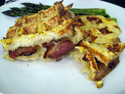 Waffled French Toast Stuffed With Bacon and Brie OMG OMG OMG  Wow. from Elly Says Opa via vneckandacardigan