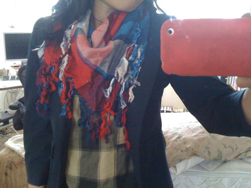"Giant, plaid fringe-y scarf 74"" x 74"" H&M Donation $8"