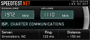 This is last night's Charter Internet speed test. This is the 5MB/s I'm paying for?! I think NOT! It's not even the 70% of 5MB/s they guarantee. I should be getting at least 3.5MB/s at the worst. Update: I found a forums thread about Charter speed issues in this area recently. This post sheds some light on my issues: Tech just came out to the apartment and informed me that they are replacing all the nodes in Johnson City. They are working on it as we speak and it will take another 3 weeks. They have pretty much oversold the area and are adding new lines. So we're screwed for about another month.