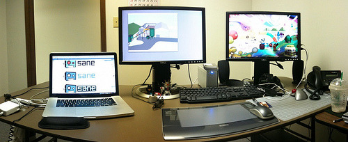 My Work Desk iPhone Panorama Creating panoramas on my iPhone is so much fun, I'm sure I'll be posting more over the weekend. Created on my iPhone 3GS with AutoStich. Cropped in iPhoto.