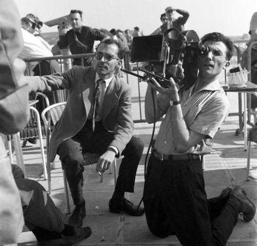 branduponthebrain:  Godard and Coutard filming Breathless.