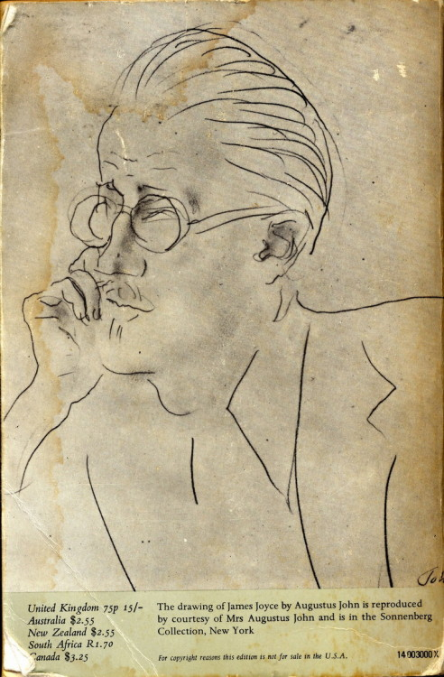 hardcorefornerds:the back cover of this copy of James Joyce's Ulysses