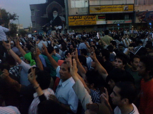 """Tehran 09/06/15 Azadi Ave as millions of people march peacefully wearing green"" Tons more photos on IranPishi's Twitpic stream. You can also search for Twitter posts in the Tehran area. I'm on a Virgin flight using Wifi at the moment, and it's amazing watching history unfold over the internet in real time, from a mile in the air."