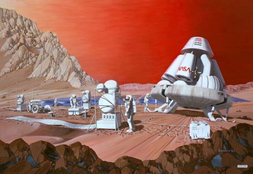 itsfullofstars: NASA artist's conception of a human mission to Mars (1989 painting by Les Bossinas of NASA Lewis Research Center).