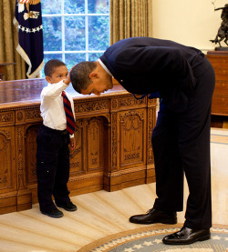 """The youngster wanted to see if the President's haircut felt like his own."" (via Jezebel - Just One Of The Boys - Barack Obama)"