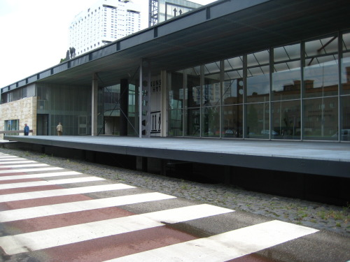 I went to see Rem Koolhaas' Kunsthal museum.  I didn't go in it because I wasn't really interested in any of the exhibits they were showing but I did walk around a lot and take a ton of photographs.  it is a gorgeous building.  it is floating above the pavement.
