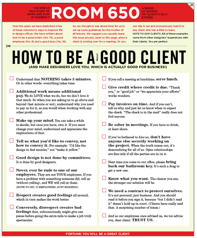 How to be a good client (PDF). By Number17. - another dexter's joint on the www