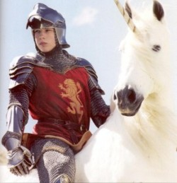 chronicles of narnia.  i cant remember if edmund rides a unicorn in the books battle…anyone?