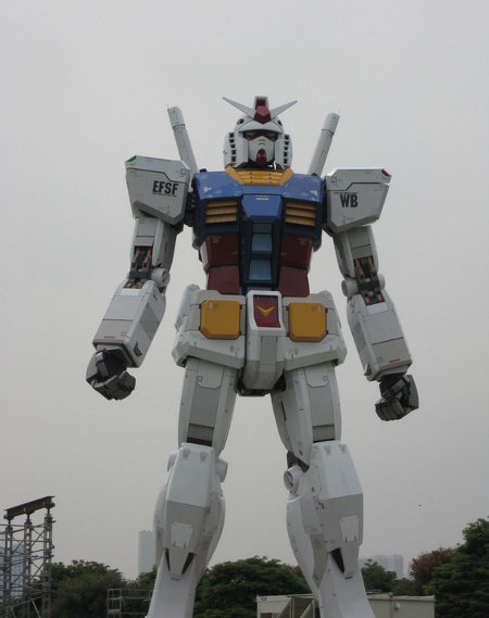 """To celebrate the 30th anniversary of the mecha anime/manga/toy/video game franchise, this 18-meter-tall (59-foot-tall) RX-78 has been erected."" Aw-man this thing is beautiful."