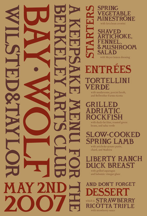 Special menu for the Bay Wolf restaurant in Oakland. Custom type.