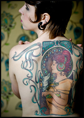 laceninja:  electricbloom:  aletheaevelyn:  aayla:  1; art nouveau tattoo (alphonse mucha) (via tumato4213)     I WANT THIS TATTOO.