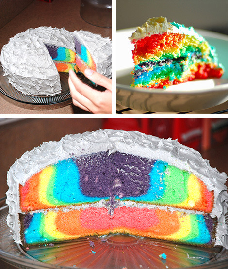 ffffood:  how to make a rainbow cake!  So gay. (rainbows = gay. get it? classic.)