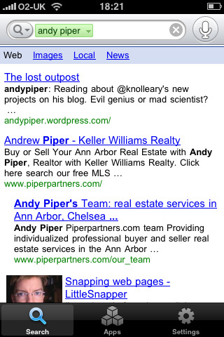 andypiper: Successful voice search… But only when I put on an American accent!