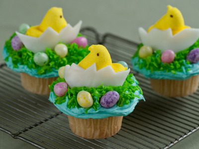 Chick and egg cupcake.