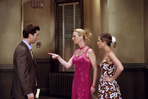 7x23 TOW Chandler and Monica's Wedding  Ross: Well how much time before she absolutely has to start getting ready? Rachel: One hour. Ross: Give me two. Rachel: Then why do you ask?! Ross: Okay, wish me luck. Phoebe: Okay. I'm going with you. Ross: Why?! Phoebe: Ross, you're tired. You've been looking all night. And clearly you suck at this.