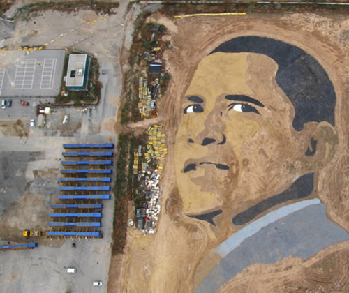 """Expectations"", by Jorge Rodrigues Gerada  A sand art portrait of Obama.  2.5 acres."