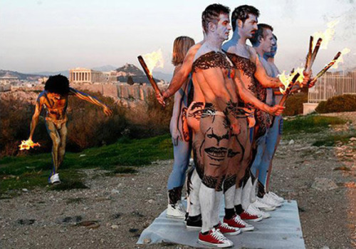 Paint Obama's face on your body!  Not sure what the fire torches are for…
