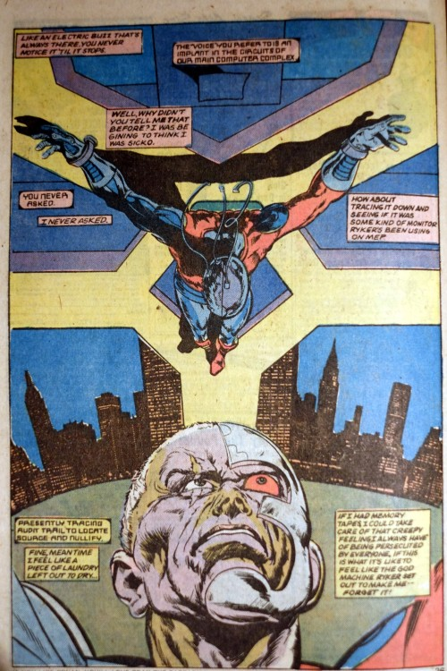 Deathlok the Demolisher. Seminal and brutal stuff! A definite inspiration for Terminator, Robocop, the Borg, Rogue Trooper etc.