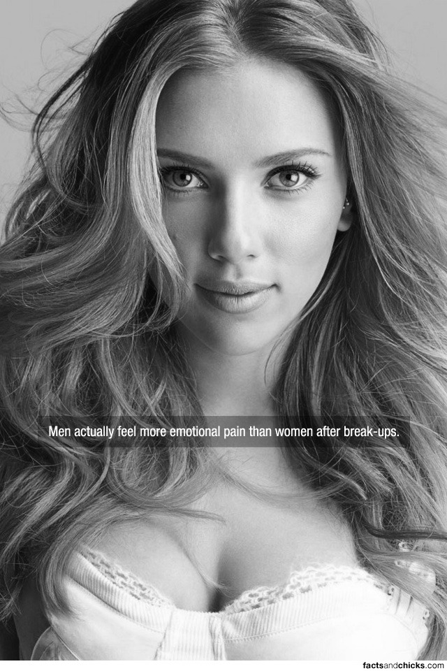 factsandchicks:  Men actually feel more emotional pain than women after break-ups. source
