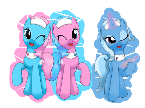 sillymessenger:  spa ponies ans part time trixie by *hoyeechun  Spa pony Trixie? I approve.